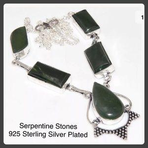 Serpentine 925 Silver Plated Statement Necklace